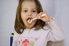 Girl and the chocolate Stock Image
