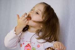 Girl and the chocolate Stock Photography