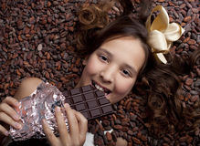 Girl  with chocolate Stock Image