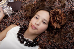 Girl  with chocolate Royalty Free Stock Image