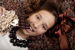 Girl  with chocolate Royalty Free Stock Images