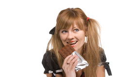 The girl with chocolate Stock Photography