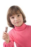Girl with chocolate bar Stock Photography