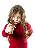 Girl with  chocolate bar. Cute little girl with long arms holding in his outstretched hand  chocolate bar Stock Photo