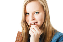 Girl with chocolate Royalty Free Stock Photos