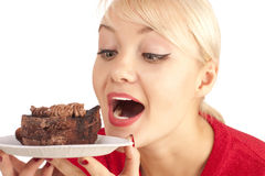 Girl with a chocolate cake Stock Photo