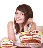 Girl with chocolate cake. Royalty Free Stock Photo