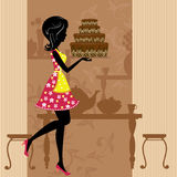 Girl with chocolate cake Royalty Free Stock Photography