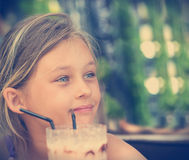 Girl and chocolate cocktail Royalty Free Stock Images