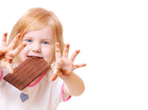 Girl with chocolate isolated on white Royalty Free Stock Photos