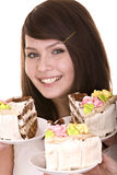 Girl choose of  chocolate cake. Royalty Free Stock Image