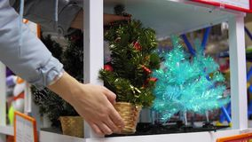 Girl chooses Christmas holiday decorations in the mall. The girl chooses an artificial Xmas tree in the mall, a young woman buys festive attributes in front of stock video footage