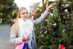 Girl chooses a Christmas tree Royalty Free Stock Photography