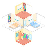 Girl chooses clothes in isometric room. Flat 3D illustration. Royalty Free Stock Photos