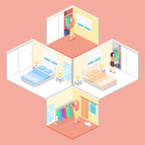 Girl chooses clothes in isometric room. Stock Photo