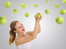 Girl chooses a healthy vegetarian diet Royalty Free Stock Images