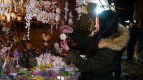 Girl Chooses souvenir stock footage
