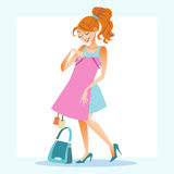 Girl chooses to dress store shopping. Girl young woman chooses to dress store shopping discounts purchase vector illustration