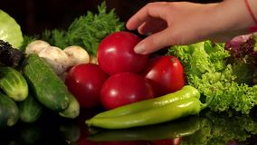 Girl chooses a tomato from a variety of vegetables. Girl takes a tomato from a large set of vegetables on a black background. Concept of vegetarianism and stock video footage