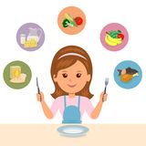The girl chooses what she eat of the food groups: farinaceous, dairy, vegetables, fruits and meat. Royalty Free Stock Photography