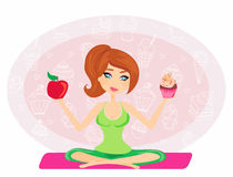 Girl choosing between an apple and a cupcake Royalty Free Stock Photo