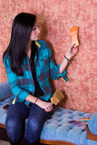 Girl Choosing a Color for the Walls Stock Photo