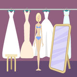 Girl choosing dress. Young pretty girl choosing wedding dress. Elegant bridal gowns in glamorous boutique. Vector illustration in flat style Royalty Free Stock Images
