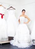 Girl choosing a wedding dress Stock Photo