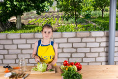 Girl Chopping Fresh Vegetables for Canning Stock Image