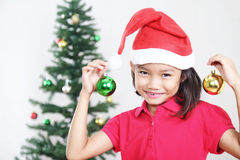 Girl At Christmas Stock Photo