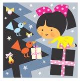 Girl and Christmas royalty free stock image