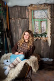 Girl with Christmas around porch. New year Royalty Free Stock Photo