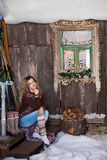 Girl with Christmas around porch. New year Stock Photography