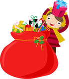 Girl and Christmas bag Stock Image