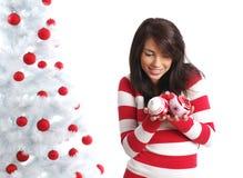Girl with christmas balls Royalty Free Stock Photography
