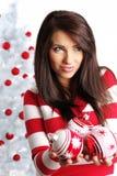 Girl with christmas balls Stock Photo