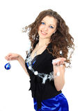 Girl with christmas balls Stock Images