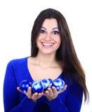 Girl with christmas balls Royalty Free Stock Image
