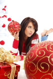 Girl with christmas balls Royalty Free Stock Images