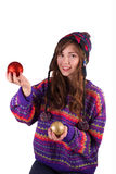 Girl with Christmas balls Royalty Free Stock Photo