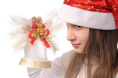 Girl with christmas bell Royalty Free Stock Image