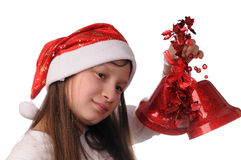 Girl with christmas bell Stock Photography