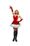 Girl and Christmas bells. Attractive young woman in carnival costumes and Christmas bells isolated on a white background Stock Images