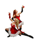 Girl and Christmas bells. Attractive young women in carnival costumes and Christmas bells isolated on a white background Stock Photos