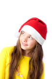 Girl in christmas cap Royalty Free Stock Photography