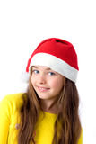 Girl in christmas cap Stock Photo