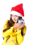 Girl in christmas cap Royalty Free Stock Photo