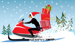 Girl in a Christmas cap, on snowmobile carries gifts, winter, winter landscape. Vector illustration of  girl in a Christmas cap, on snowmobile carries gifts Stock Image