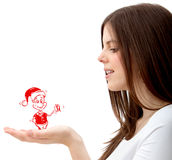 Girl with christmas character Royalty Free Stock Photo