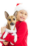 Girl in Christmas clothes Stock Image